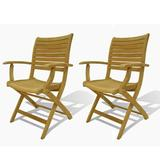 Longshore Tides Jax Teak Folding Patio Dining Chair Wood in Brown/White, Size 35.0 H x 20.0 W x 22.0 D in | Wayfair