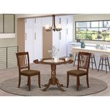 Winston Porter Morgantown 3 Piece Drop Leaf Solid Wood Dining Set Wood/Upholstered Chairs in Brown, Size 29.5 H in | Wayfair