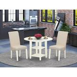 Winston Porter Sherbrooke 3 Piece Drop Leaf Solid Wood Dining Set Wood/Upholstered Chairs in Brown/White, Size 30.0 H in   Wayfair
