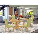 Winston Porter Falstaff 5 Piece Extendable Solid Wood Dining Set Wood/Upholstered Chairs in Brown/Green, Size 30.0 H in | Wayfair