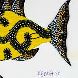 Rosecliff Heights Wool Fish Painting Wall Hanging Wool in Black/White, Size 8.25 H x 11.75 W in | Wayfair 7B95335E77664A2CBD0A6475641B6891