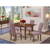 Winston Porter Chourasiya 5 Piece Extendable Solid Wood Dining Set Wood/Upholstered Chairs in Brown, Size 30.0 H in | Wayfair