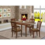 Winston Porter Jaquish 5 Piece Extendable Solid Wood Dining Set Wood/Upholstered Chairs in Brown, Size 30.0 H in | Wayfair