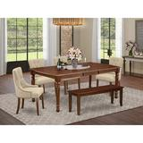 Winston Porter Berthier 6 Piece Extendable Solid Wood Dining Set Wood/Upholstered Chairs in Brown, Size 30.0 H in   Wayfair