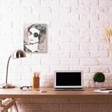 Mercer41 'Fashion Model Lounging in Sunglasses Pink Marble' by Daphne Polselli Graphic Art Print Wood in Brown, Size 18.0 H x 12.0 W x 0.5 D in