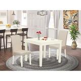 Winston Porter Dondale 3 Piece Solid Wood Dining Set Wood/Upholstered Chairs in Brown/White, Size 30.0 H in   Wayfair