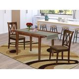 Winston Porter Visby 3 Piece Extendable Solid Wood Dining Set Wood/Upholstered Chairs in Brown, Size 30.0 H in | Wayfair