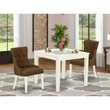 Winston Porter Wakarusa 3 - Piece Rubberwood Solid Wood Dining Set Wood/Upholstered Chairs in White, Size 30.0 H in   Wayfair