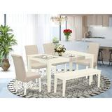 Winston Porter Geneve 6 Piece Solid Wood Dining Set Wood/Upholstered Chairs in Brown/White, Size 30.0 H x 36.0 W x 60.0 D in | Wayfair