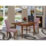 Winston Porter Normandin 3 Piece Extendable Solid Wood Dining Set Wood/Upholstered Chairs in Brown/White, Size 30.0 H in | Wayfair