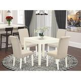 Winston Porter Ballston 5 Piece Solid Wood Dining Set Wood/Upholstered Chairs in Brown/White, Size 30.0 H in   Wayfair