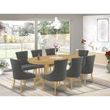 Winston Porter Axelson 9 Piece Extendable Solid Wood Dining Set Wood/Upholstered Chairs in Brown/Gray, Size 30.0 H in | Wayfair