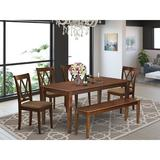 Winston Porter Buckleys 6 Piece Solid Wood Dining Set Wood/Upholstered Chairs in Brown, Size 30.0 H x 36.0 W x 60.0 D in | Wayfair