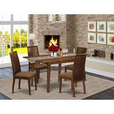 Winston Porter Chelchowska 5 Piece Extendable Solid Wood Dining Set Wood/Upholstered Chairs in Brown, Size 30.0 H in | Wayfair