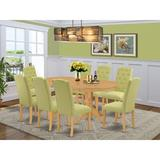 Winston Porter Bequia 9 Piece Extendable Solid Wood Dining Set Wood/Upholstered Chairs in Brown/Green, Size 30.0 H in | Wayfair