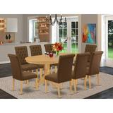 Winston Porter Bovingdon 9 Piece Extendable Solid Wood Dining Set Wood/Upholstered Chairs in Brown, Size 30.0 H in | Wayfair