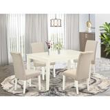 Winston Porter Alfonse 5 Piece Solid Wood Dining Set Wood/Upholstered Chairs in Brown/White, Size 30.0 H x 36.0 W x 60.0 D in   Wayfair
