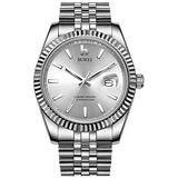 BUREI Mens Automatic Watches Analog Calendar Date Display Sapphire Crystal Lens with Silver Stainless Steel Band (Full Silver)