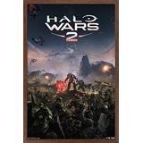 """Trends International Halo Wars 2-Key Art Wall Poster, 14.725"""" x 22.375"""", Mahogany Framed Version"""