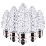Led Light Bulbs 50 Pack C9 Led Christmas Light Bulbs, Replacement Dimmable Bulbs for Christmas String Lights, Holiday Decoration Indoor and Outdoor Use, E17 Intermediate Base, Cool White