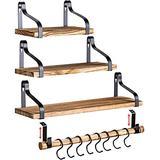 Clarke`s Decor, Floating Shelves Set of 3, Wall Shelves, Hanging Shelves. Rustic Wood Shelves for Bedroom, Kitchen, Living Room. Shelf with Hooks. Wall Mounted Bathroom Shelves. Small Trophy Shelves