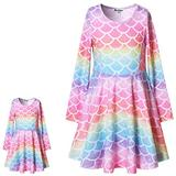 Matching Girl & Doll Dresses Mermaid Fish Scale Clothes for Big Girls 12 13