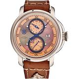 L. Kendall Mens Swiss Automatic Watch - 46mm Brown Mother of Pearl Dial Sapphire Crystal and Date - Stainless Steel Beige Calfskin Leather Strap Classic Luxury Swiss Made Limited Edition Watch K5-002