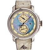 L. Kendall Mens Swiss Automatic Watch - 46mm Blue Mother of Pearl Dial Sapphire Crystal and Date - Stainless Steel Ivory Suede Leather Strap Classic Luxury Swiss Made Limited Edition Mens Watch K5-003