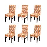 Modern Elegant Polyester Stretch Washable Removable Dining Chair Slipcover, Soft and Stretchy Slipcover Chair Protector Slipcovers/Home Decor Dining Room Seat Cover Multiple Styles (Orange,6 PCS)