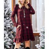 Suzanne Betro Dresses Women's Casual Dresses 101BURG/BLACK - Burgundy & Black Plaid Faux-Suede Shoulder Ruffle-Hem A-Line Dress - Women & Plus