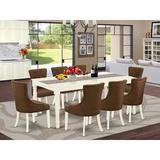 Winston Porter Capobianco 9 Piece Extendable Solid Wood Dining Set Wood/Upholstered Chairs in White, Size 30.0 H in | Wayfair