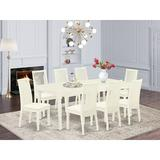 Winston Porter Nommern 9 Piece Extendable Solid Wood Dining Set Wood/Upholstered Chairs in White, Size 30.0 H in | Wayfair