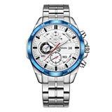 Watch Men's Black Watch Six-pin Multi-Function Watch Calendar Chronograph Waterproof Luminous Steel Strap Quartz Watch (Blue-White)