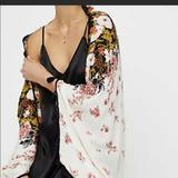 Free People Tops | Free People Bali Wrapped In Blooms Shawl | Color: Black/White | Size: S