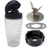 Joystar Ice Crusher blade with bottle cup and lid for Oster Blender Blend-N-Go Smoothie blender,Oster Classic Series Blender and Oster Master Series Pre-Programmed Blender (3, PETG+4 FINS SS blade)