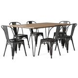 SIMPLIHOME Fletcher SOLID MANGO WOOD and Metal 66 inchWide Industrial IV 7 Pc Dining Set with 6 Metal Dining Chairs in Distressed Black and Copper, for the Dining Room and Kitchen,Industrial