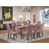 Winston Porter Cuaron 9 Piece Extendable Solid Wood Dining Set Wood/Upholstered Chairs in Brown, Size 30.0 H in | Wayfair