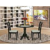 Winston Porter Jonsson 3 - Piece Drop Leaf Solid Wood Dining Set Wood/Upholstered Chairs in Black, Size 29.5 H in   Wayfair