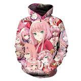 Darling in The FRANXX Hoodie Anime Cosplay Sweatshirt Unisex Adult Costume 2XL