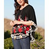 Ananda's Collection Women's Ponchos BLACK - Black Geometric Floral Tassel-Trim Poncho - Juniors