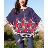 Ananda's Collection Women's Ponchos navy - Navy Geometric Floral Tassel-Trim Poncho - Juniors