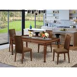 Winston Porter Lloshi 5 - Piece Butterfly Leaf Rubberwood Solid Wood Dining Set Wood/Upholstered Chairs in Brown, Size 30.0 H in   Wayfair
