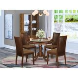 Winston Porter Darchelle 5 - Piece Solid Wood Rubberwood Dining SetWood/Upholstered Chairs in Brown, Size 30.0 H x 42.0 W x 42.0 D in | Wayfair