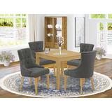 Winston Porter Paltrow 5 - Piece Rubberwood Solid Wood Dining SetWood/Upholstered Chairs in Brown, Size 30.0 H x 36.0 W x 36.0 D in | Wayfair