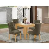 Winston Porter Paltrow 5 - Piece Rubberwood Solid Wood Dining Set Wood/Upholstered Chairs in Brown, Size 30.0 H in | Wayfair