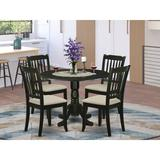 Winston Porter Osuna 5 - Piece Drop Leaf Solid Wood Dining Set Wood/Upholstered Chairs in Black, Size 29.5 H in | Wayfair