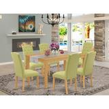 Ophelia & Co. Gilligan 6 - Person Counter Height Solid Wood Dining Set Wood/Upholstered Chairs in Brown, Size 29.0 H in | Wayfair