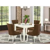 Winston Porter Paltrow 5 - Piece Rubberwood Solid Wood Dining Set Wood/Upholstered Chairs in White, Size 30.0 H in   Wayfair