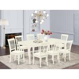 Winston Porter Moonseed 9 Piece Extendable Solid Wood Dining Set Wood/Upholstered Chairs in White, Size 30.0 H in | Wayfair