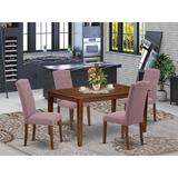 Ophelia & Co. Gilley 5 Piece Solid Wood Dining Set Wood/Upholstered Chairs in Brown, Size 30.0 H in | Wayfair 8233F17ACE07439991726825A1D2991B